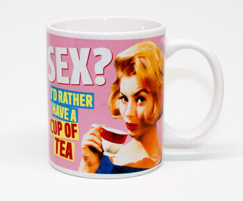 Secret Santa mug 'Sex? I'd rather have a cup of tea'