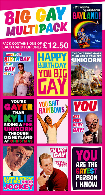 Big Gay Funny Card Pack of 10 Multipack