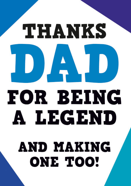 Thanks Dad for being a legend Funny Fathers Day Card