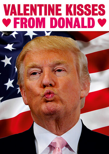 Kisses From Donald Funny Valentines Card