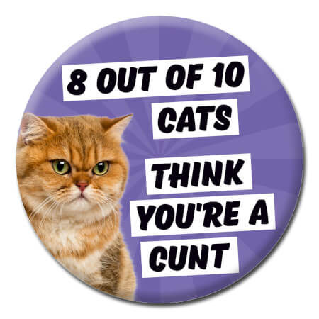 8 Out Of 10 Cats Rude Badge