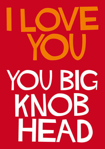 I Love You You Big Knob Head Funny Valentines Card