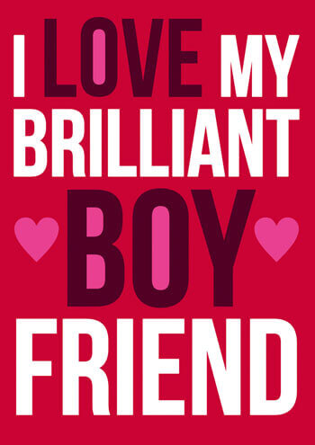 I Love My Brilliant Boyfriend Funny Valentines Card