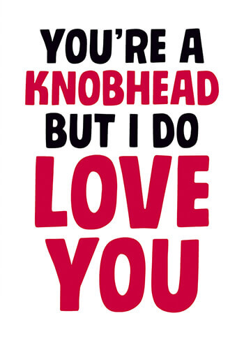You're a Knobhead But I Do Love You Funny Valentines Card
