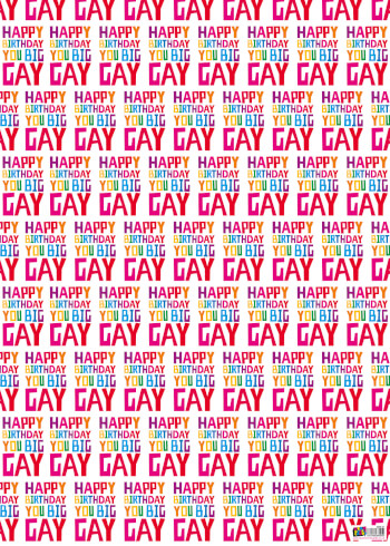 Happy Birthday You Big Gay Gift Wrap X 3 Sheets Funny