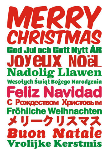 Merry Christmas in Different Languages Funny Christmas Card