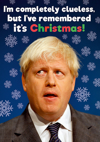 Clueless Boris Funny Christmas Card