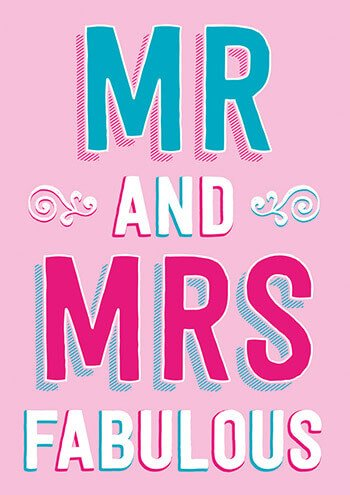 Mr And Mrs Fabulous Funny Wedding Card
