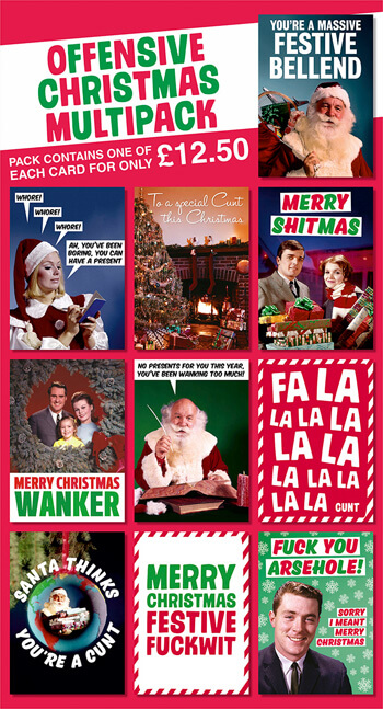 Offensive Christmas Rude Card Pack of 10 Multipack