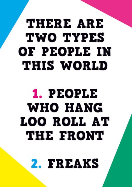 Two types of people funny birthday card