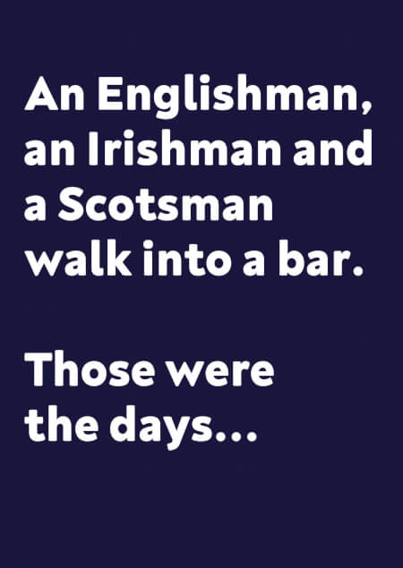 Englishman, Irishman and a Scotsman Funny Birthday Card