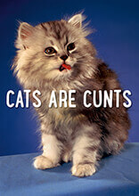 Cats Are Cunts Rude Greeting Card