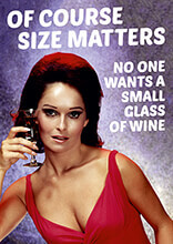 Of Course Size Matters No Wants a Small Glass Of Wine Funny Birthday Cards
