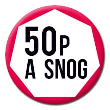 50p A Snog Funny Badge