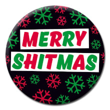 Merry Shitmas Rude Christmas Badge