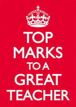 Top Marks To A Great Teacher Funny Greeting Card
