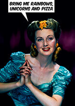 Give Me Rainbows Unicorns And Pizza Funny Birthday Card