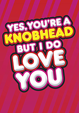Yes You're A Knobhead Funny Valentines Card