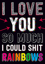 I Love You So Much I Could Shit Rainbows Rude Valentines Card