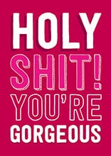 Holy Shit! You're Gorgeous Rude Valentines Card