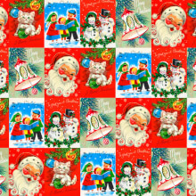 Vintage Christmas Wrap X 3 Sheets Funny
