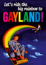 Let's Ride The Big Rainbow To Gayland Postcard Funny