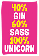 40% Gin 60% Sass 100% Unicorn Funny Birthday Card